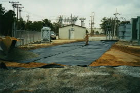 Completed underlayment of environmental barrier material