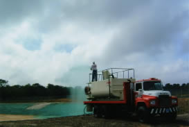 Hydroseeding application with specialized heavy equipment